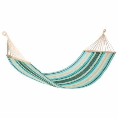 Hangmat ibiza groen/ecru gestreept 200 x 100 cm