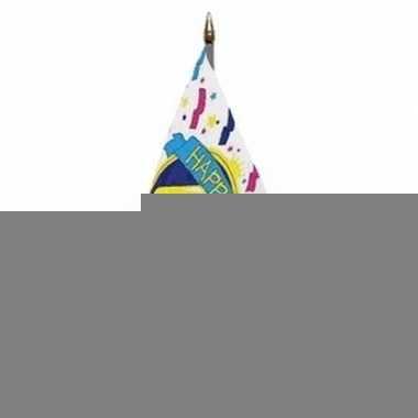 Happy 40th birthday vlaggetje met stokje