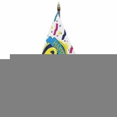 Happy 60th birthday vlaggetje met stokje
