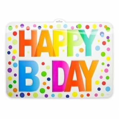 Happy b-day deurbord met stippen 38 x 52 cm