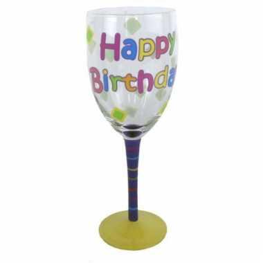 Happy birthday glas voor elke verjaardag