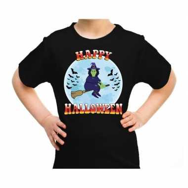 Happy halloween heks verkleed t-shirt zwart voor kinderen