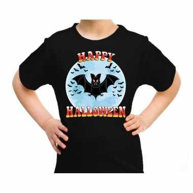 Happy halloween vleermuis verkleed t-shirt zwart voor kinderen