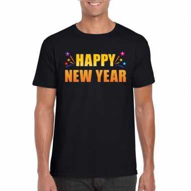 Happy new year t-shirt zwart voor heren