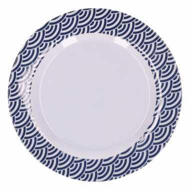 Hard kunststof bord 20 cm schubben print blauw/wit