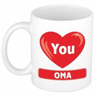 Hartje i love you oma mok / beker 300 ml