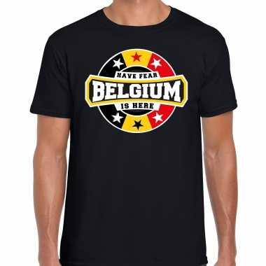 Have fear belgium is here t-shirt voor belgie supporters zwart voor heren