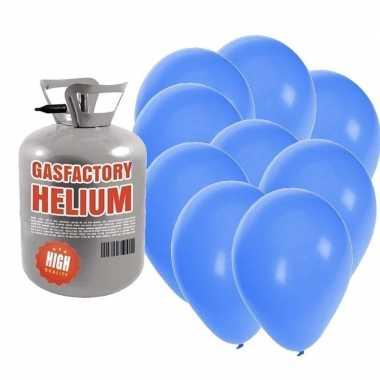 Helium tank met 30 blauwe ballonnen