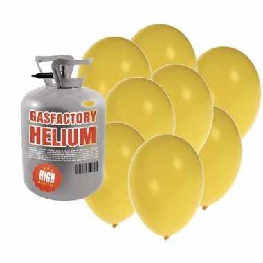 Helium tank met 50 gele ballonnen