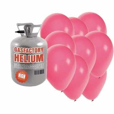 Helium tank met 50 roze ballonnen