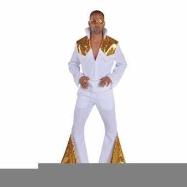 Heren elvis kostuum wit met goud