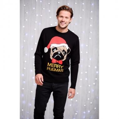Kersttrui Heren Rendier.Heren Kersttrui Zwart Met Mopshond Alltrends Nl