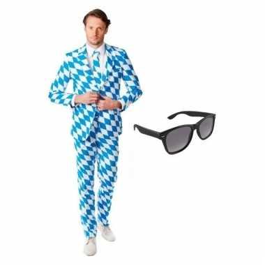 Heren kostuum met beierse print maat 50 l met gratis zonnebr trend