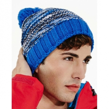 Heren winter muts blauwe mix met pompon