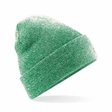 Heren winter muts groen gemeleerd