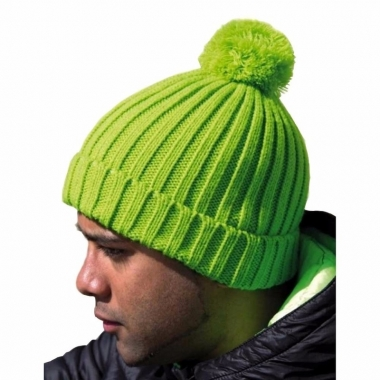 Heren winter muts lime groen met pompon