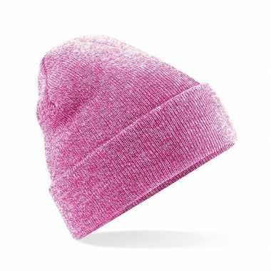 Heren winter muts roze gemeleerd