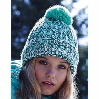 Heren winter muts turquoise mix met pompon
