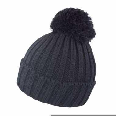 Heren winter muts zwart met pompon
