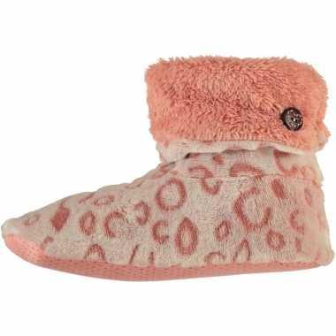 Hoge omslag pantoffels/sloffen luipaard roze voor dames