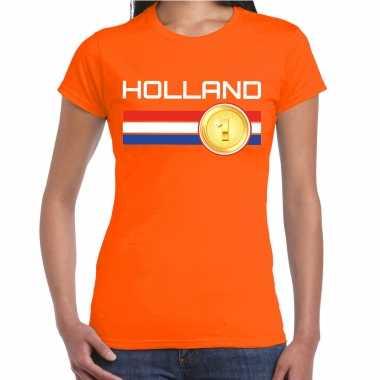 Holland landen t-shirt oranje dames