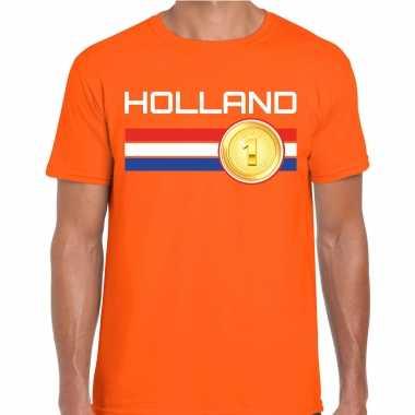 Holland landen t-shirt oranje heren