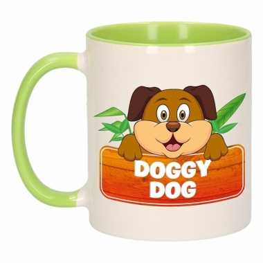Honden theebeker groen / wit doggy dog 300 ml