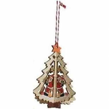 Houten boom met kerstman kerstversiering hangdecoratie 10 cm