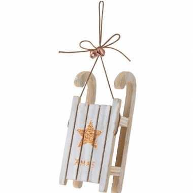 Houten slee bronzen ster 12 cm kerstversiering hangdecoratie