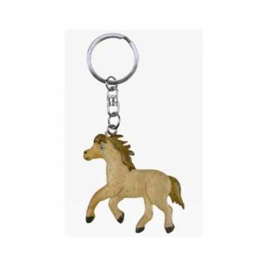 Houten sleutelhanger paard/veulen speelgoed