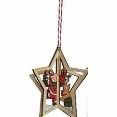 Houten ster met beren kerstversiering hangdecoratie 10 cm