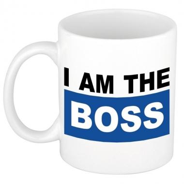 I am the boss mok / beker blauw 300 ml