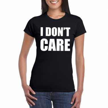 I dont care tekst t-shirt zwart dames