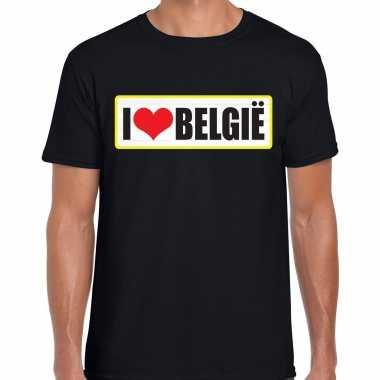 I love belgie landen t-shirt zwart heren