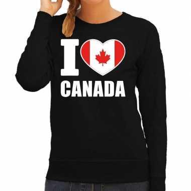 I love canada sweater / trui zwart voor dames