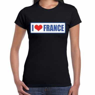 I love france / frankrijk landen t-shirt zwart dames