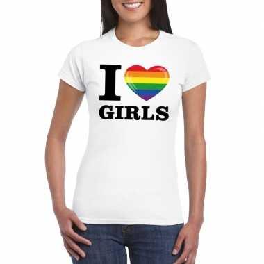 I love girls regenboog t-shirt wit dames