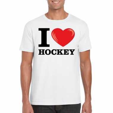 I love hockey t-shirt wit heren