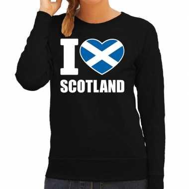 I love scotland sweater / trui zwart voor dames