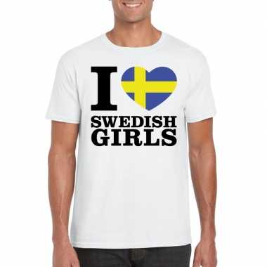 I love swedish girls t-shirt wit heren
