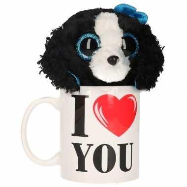 I love you mok met knuffel hond