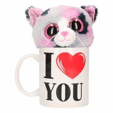 I love you mok met knuffel poes/kat gevlekt