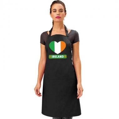 Ierland hart vlag barbecueschort/ keukenschort zwart