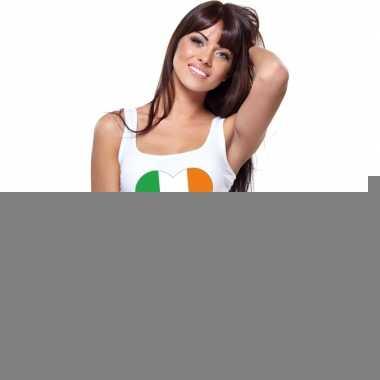 Ierland hart vlag singlet shirt/ tanktop wit dames