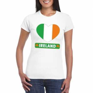 Ierland hart vlag t-shirt wit dames