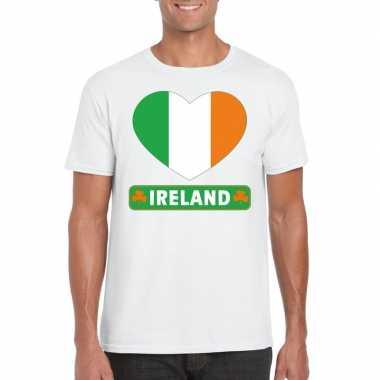 Ierland hart vlag t-shirt wit heren