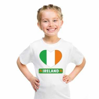 Ierland hart vlag t-shirt wit jongens en meisjes