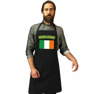 Ierland vlag barbecueschort/ keukenschort zwart volwassenen