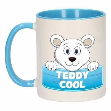 Ijsbeer theebeker blauw / wit teddy cool 300 ml
