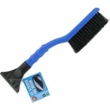 Ijskrabber met borstel blauw 39 cm